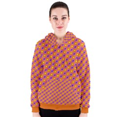 Vibrant Retro Diamond Pattern Women s Zipper Hoodie by DanaeStudio