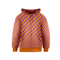 Vibrant Retro Diamond Pattern Kids  Zipper Hoodie