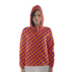 Vibrant Retro Diamond Pattern Hooded Wind Breaker (Women)
