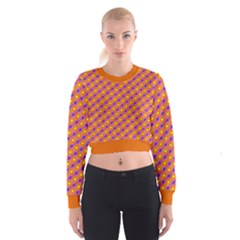 Vibrant Retro Diamond Pattern Women s Cropped Sweatshirt