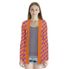 Vibrant Retro Diamond Pattern Drape Collar Cardigan by DanaeStudio