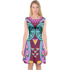 Owl Capsleeve Midi Dress by olgart