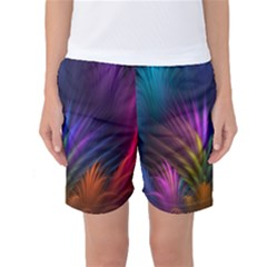 Colored Rays Symmetry Feather Art Women s Basketball Shorts by Zeze