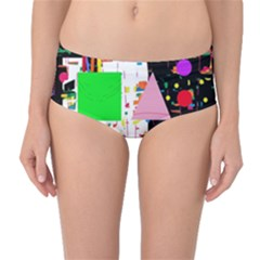 Colorful Facroty Mid Waist Bikini Bottoms by Valentinaart