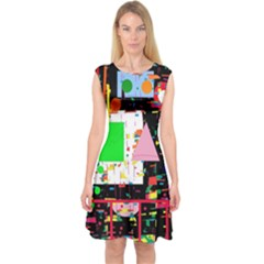 Colorful Facroty Capsleeve Midi Dress by Valentinaart