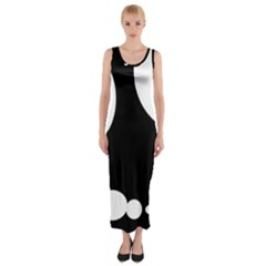 Black And White Moonlight Fitted Maxi Dress by Valentinaart