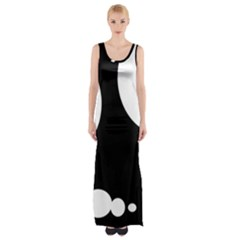 Black And White Moonlight Maxi Thigh Split Dress by Valentinaart