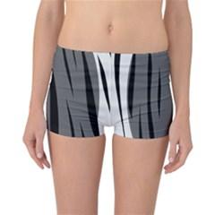 Gray, Black And White Design Reversible Boyleg Bikini Bottoms by Valentinaart