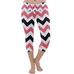 Black And Pink Chevron Capri Yoga Leggings by Zeze