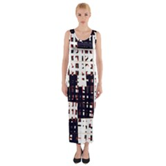Abstract City Landscape Fitted Maxi Dress by Valentinaart