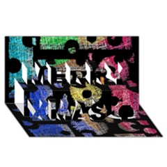 Colorful Puzzle Merry Xmas 3d Greeting Card (8x4) by Valentinaart