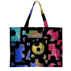 Colorful Puzzle Zipper Large Tote Bag by Valentinaart
