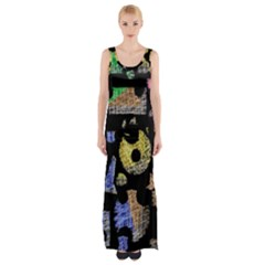 Colorful Puzzle Maxi Thigh Split Dress by Valentinaart
