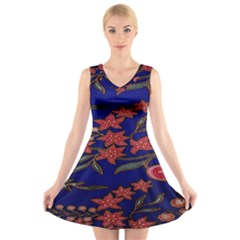 Batik Fabric V-Neck Sleeveless Skater Dress by Zeze