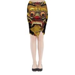 Bali Mask Midi Wrap Pencil Skirt by Zeze