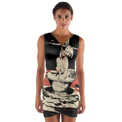 23 Sexy Conte Sketch Girl In Dark Room Naked Boobs Bathing Country Wrap Front Bodycon Dress by PeterReiss