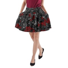 Gray And Red Decorative Art A Line Pocket Skirt by Valentinaart