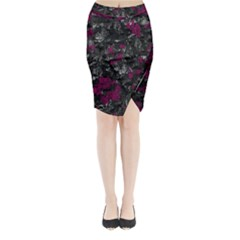 Magenta And Gray Decorative Art Midi Wrap Pencil Skirt