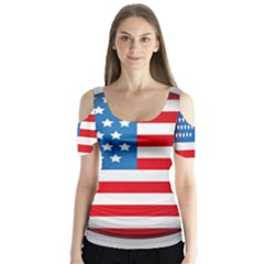 Usa Flag Butterfly Sleeve Cutout Tee  by Zeze