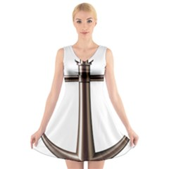 Anchor V-Neck Sleeveless Skater Dress by Zeze