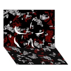 Red, White And Black Abstract Art Clover 3d Greeting Card (7x5) by Valentinaart