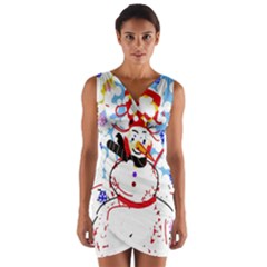 Snowman Wrap Front Bodycon Dress by Valentinaart