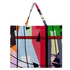 Window Zipper Large Tote Bag by Valentinaart