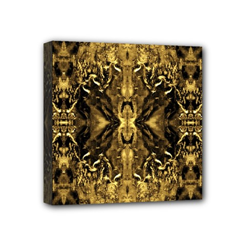 Beautiful Gold Brown Traditional Pattern Mini Canvas 4  X 4