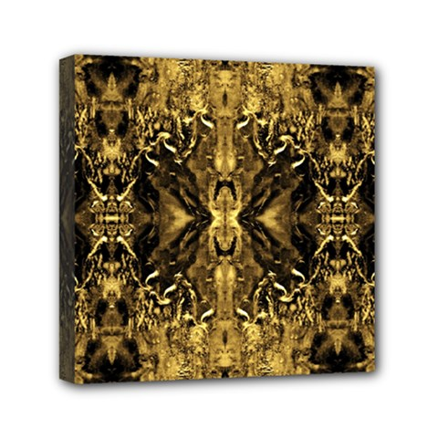 Beautiful Gold Brown Traditional Pattern Mini Canvas 6  X 6
