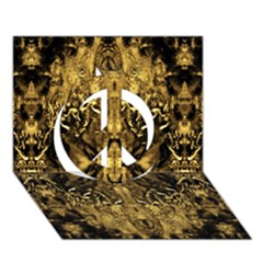 Beautiful Gold Brown Traditional Pattern Peace Sign 3d Greeting Card (7x5) by Costasonlineshop