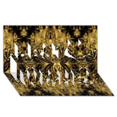 Beautiful Gold Brown Traditional Pattern Best Wish 3d Greeting Card (8x4) by Costasonlineshop