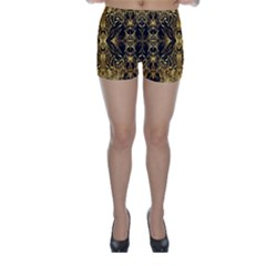 Beautiful Gold Brown Traditional Pattern Skinny Shorts by Costasonlineshop