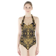 Beautiful Gold Brown Traditional Pattern Halter Swimsuit