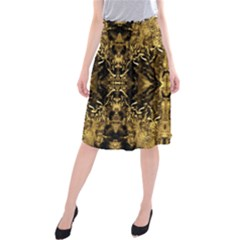 Beautiful Gold Brown Traditional Pattern Midi Beach Skirt by Costasonlineshop