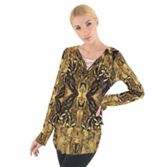Beautiful Gold Brown Traditional Pattern Women s Tie Up Tee
