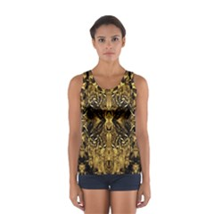 Beautiful Gold Brown Traditional Pattern Women s Sport Tank Top