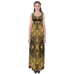Beautiful Gold Brown Traditional Pattern Empire Waist Maxi Dress