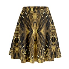 Beautiful Gold Brown Traditional Pattern High Waist Skirt by Costasonlineshop