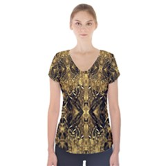 Beautiful Gold Brown Traditional Pattern Short Sleeve Front Detail Top