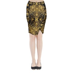 Beautiful Gold Brown Traditional Pattern Midi Wrap Pencil Skirt by Costasonlineshop