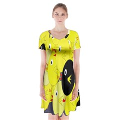 Yellow Flock Short Sleeve V Neck Flare Dress
