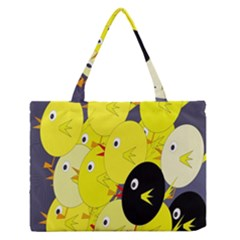 Yellow flock Medium Zipper Tote Bag by Valentinaart
