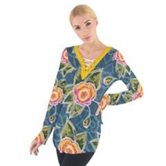 Floral Fantsy Pattern Women s Tie Up Tee by DanaeStudio