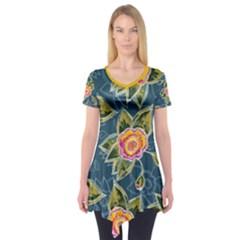 Floral Fantsy Pattern Short Sleeve Tunic