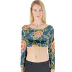 Floral Fantsy Pattern Long Sleeve Crop Top (Tight Fit)