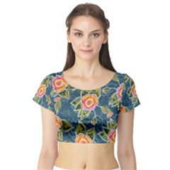 Floral Fantsy Pattern Short Sleeve Crop Top (Tight Fit)