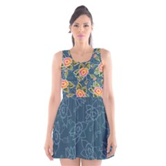 Floral Fantsy Pattern Scoop Neck Skater Dress by DanaeStudio