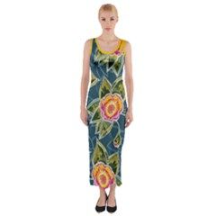 Floral Fantsy Pattern Fitted Maxi Dress by DanaeStudio