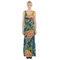 Floral Fantsy Pattern Maxi Thigh Split Dress by DanaeStudio
