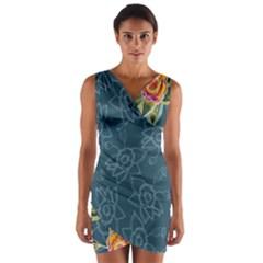 Blue Floral Pattern Wrap Front Bodycon Dress by DanaeStudio